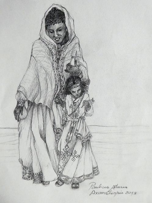 Mère et fille à Axoum, Ethiopie