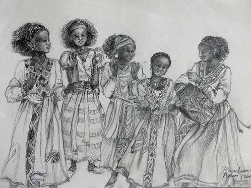Filles qui chantent à Axoum, Ethiopie