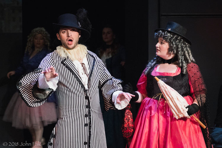 Ian Pomerantz and Shannon Lowe as Devin and La Bourgeoise in La Chûte de Phaëton
