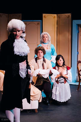Erik Standifird, Count; Nicholas Meyer, Figaro; Ivy Zhou, Susanna; Shannon Barry, Countess