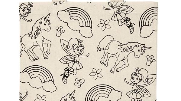 Unicorn & fairies tote bag with fabric pens