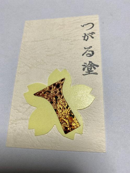 津軽塗り 三味線ばちステッカー 金