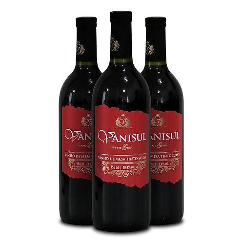 Vinho de Mesa Vanisul - Tinto Suave - 750ml (3 garrafas)