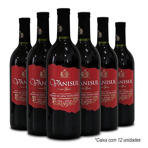 Kit Vinho de Mesa Vanisul - Tinto Suave - 750ml (12 unidades)