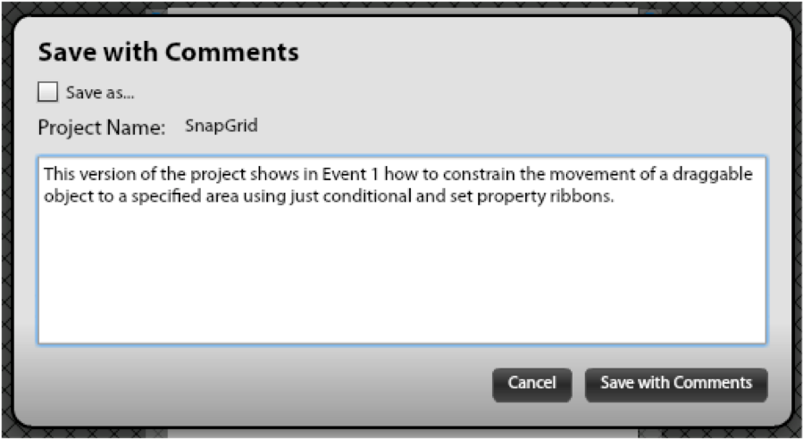 Save with Comments Dialog