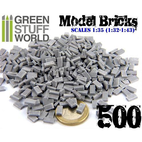 Green Stuff World: Model Bricks Grey Curved x500 (Scale 1:35)
