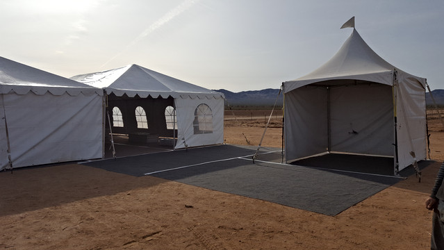 40 x 40 and 10 x 10 Tents with Tent Flooring for Monthly Event in Dolan Springs