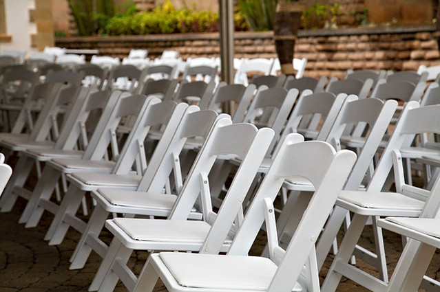 All White Wood Folding Chairs