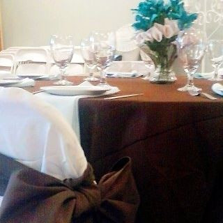 Brown, White and Shades of Teal Tablescape