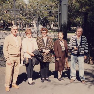 Arcadio Arosemena, Carmela de Arosemena, Evelina de Konanz, Montserat Maspons y Max Konanz durante 13° Conferencia Mundial de Orquídeas en Aukland, Nueva Zelandia - 1990.