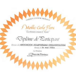 Diploma de participación en la Montecarlo Flora - 1980. Firmado por la Princesa Grace de Mónaco.