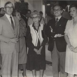 Inauguración de la IV Exposición Ecuatoriana de Orquideas constan en la foto Lutfallah Kozhaya, Arcadio Arosemena, María Enriqueta de Arosemena, Manuel Ramírez y Consuelo de Ramírez - 1982.