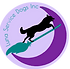 "Luna Service Dogs, Inc., Service Dog Trainer, Scent Detection Trainer, Nosework Trainer. The Luna Service Dogs Inc. logo features in the center a black silhouette of a running dog facing to the right, the dog is riding on top of a teal broomstick, flying over a royal purple crescent moon on the right. The background is a lilac purple, with the words ""Luna Service Dogs Inc"" in teal in an arc, on the left, completing the circle of the crescent moon."