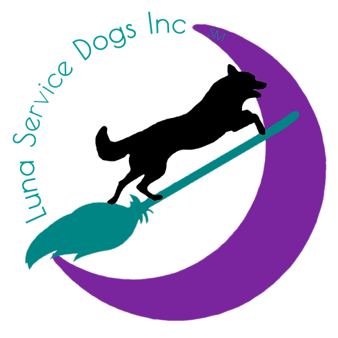 Luna Service Dogs Inc Logo - Silhouette of leaping dog riding a teal broomstick over purple moon