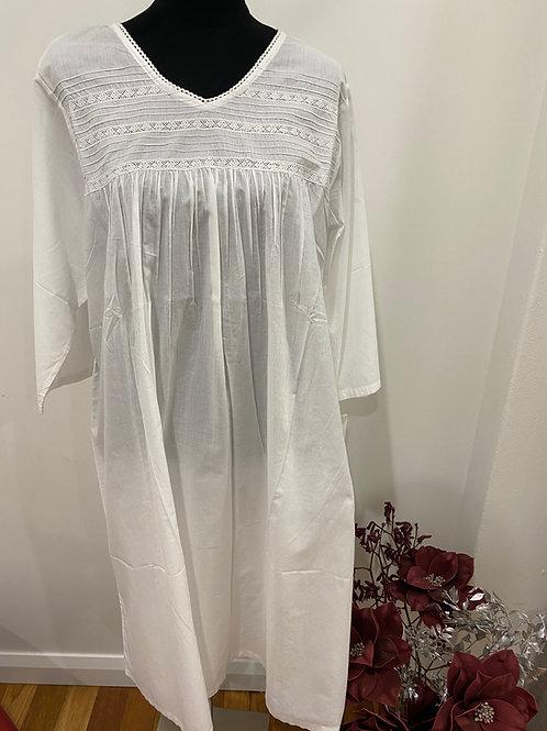 Nightie Cambric 3/4  - White