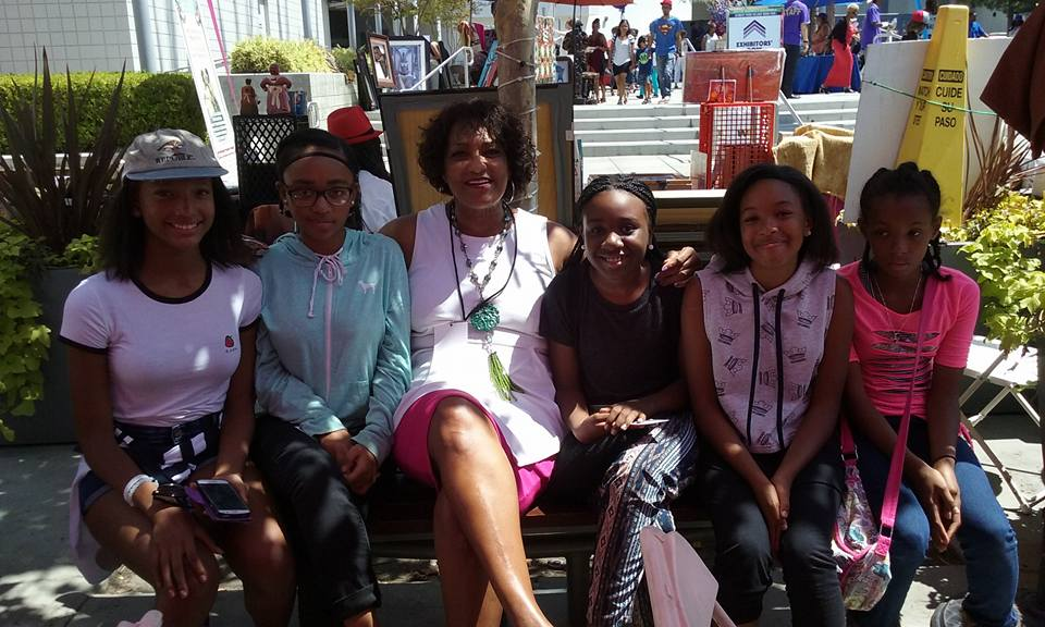 1 Baldwin Hills Leimert Park Book Fair girls with Superstar Eloise Laws