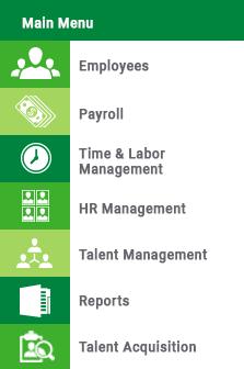 Paycom Employee Self-Service Menu