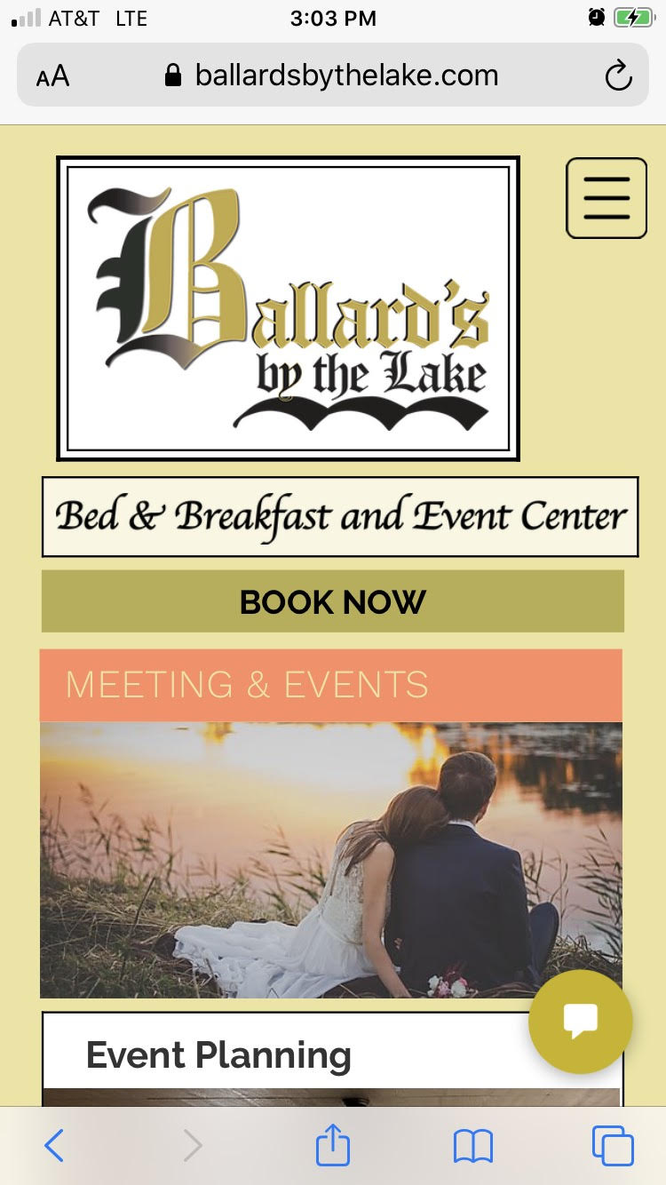 Ballard's B&B Meetings & Events page