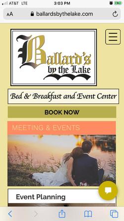 Ballard's B&B Meetings & Events page