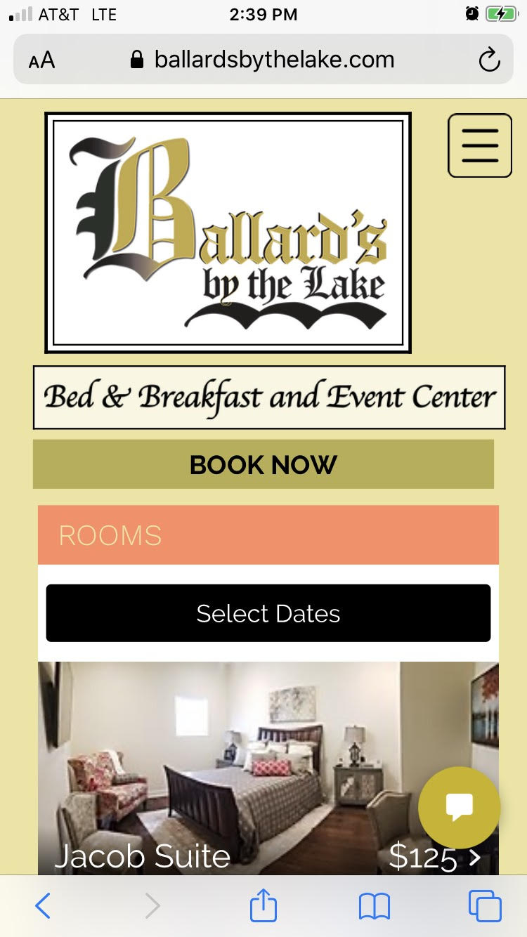 Ballard's Bed & Breakfast Rooms page