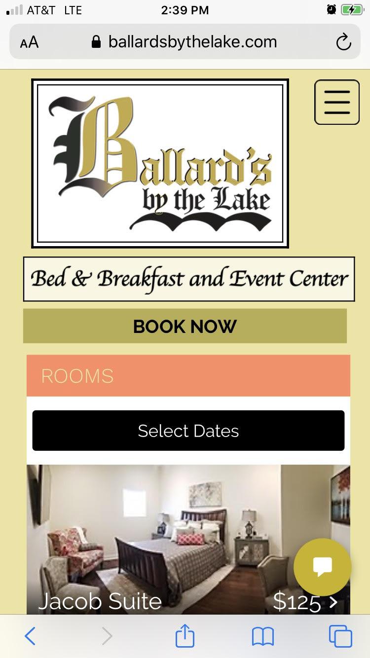 Ballard's Bed & Breakfast Rooms page