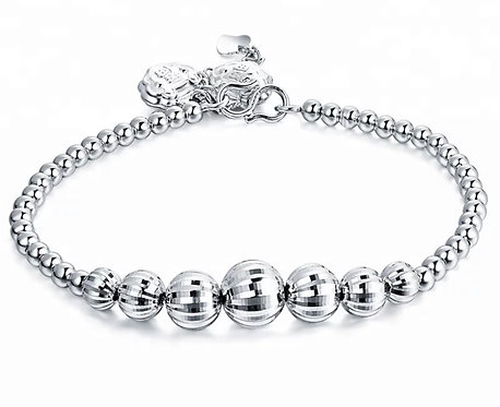 Sterling Silver 925 Beaded Bracelet with Lucky Chinese Lock Charm| Feng Shui Bra