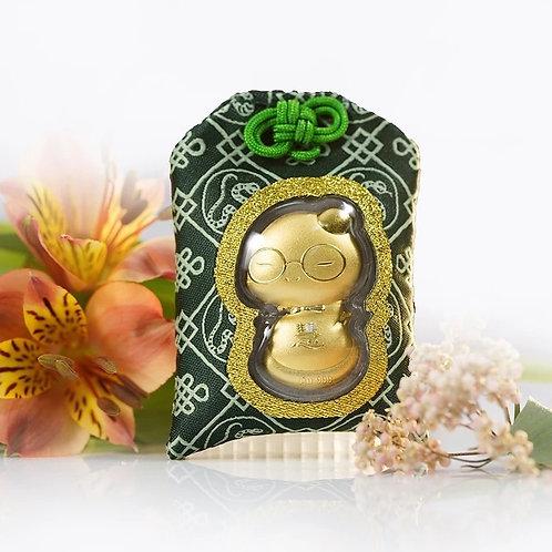 Snake- Omamori/ Amulet- 24K Au999 Gold Foil- with Medicine Chinese Herb- Wisdom