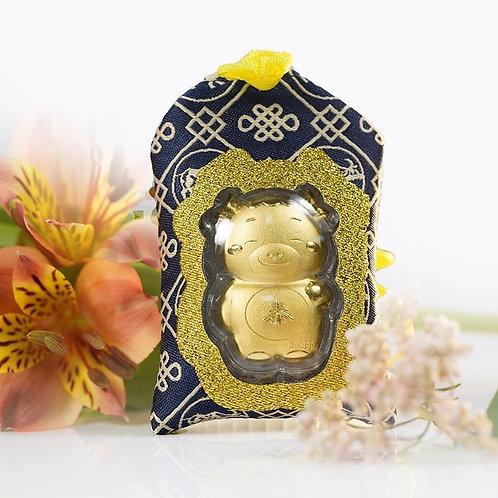 Ox Omamori/ Amulet- 24K Au999 Gold Foil- w/ Chinese Herbal Medicine