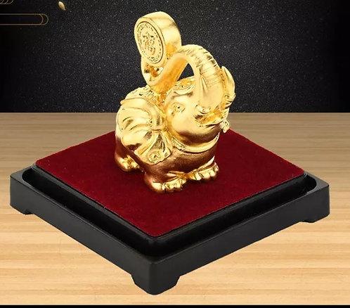 24K Golf Foil/ Plated | Golden Elephant| Gift | Home Decor| Feng Shui | Lucky El