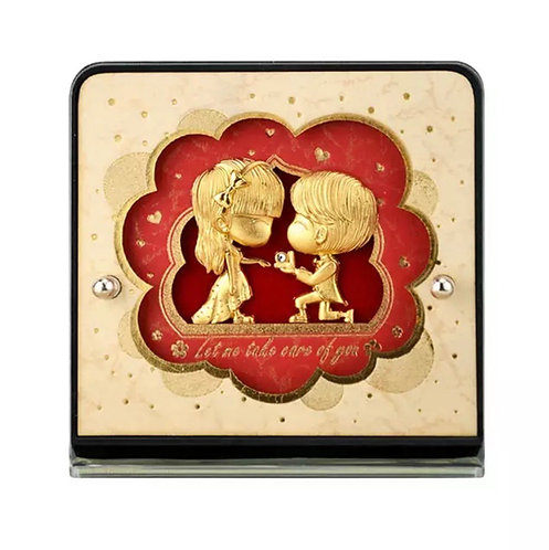 """Let me take care of you/ Will you marry me?"" 24K Gold Foil- Cute Couple Frame"
