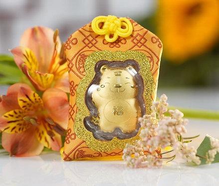 Tiger Omamori/ Amulet- 24K Au999 Gold Foil- w/ Chinese Herbal Medicine
