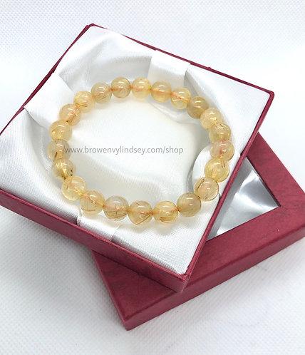 Strong Gold Rutilated Natural Stone Bracelet | High Quality High Grade 5A Quartz