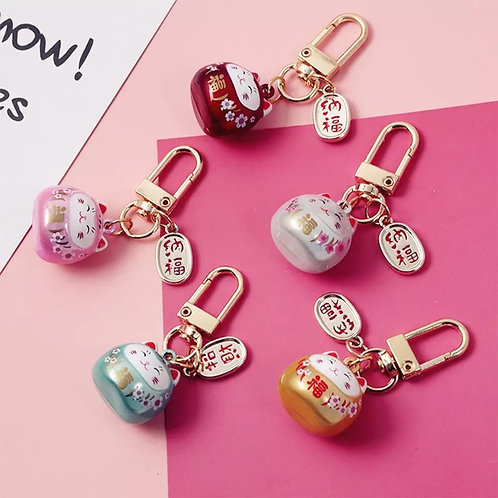 Japanese  Maneki Lucky Cat Key Chain/ Locks/ Charms-Holographic