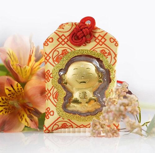 Monkey Omamori/ Amulet- 24K Au999 Gold Foil- w/ Chinese Herbal Medicine