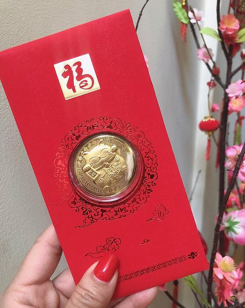 5pc Japanese Maneki Cat- 24K Gold Foil Lucky Red Money Envelope
