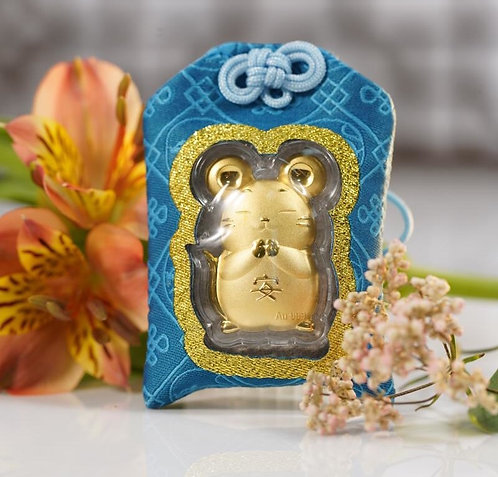 Rat Omamori/ Amulet- 24K Au999 Gold Foil-w/ Chinese Herbal Medicine