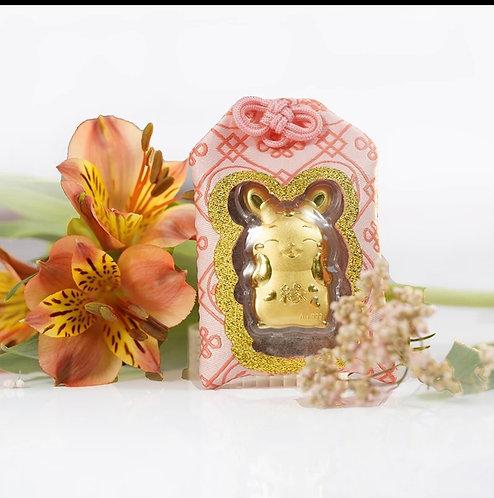 Rabbit Omamori/ Amulet- 24K Au999 Gold Foil- w/ Chinese Herbal Medicine
