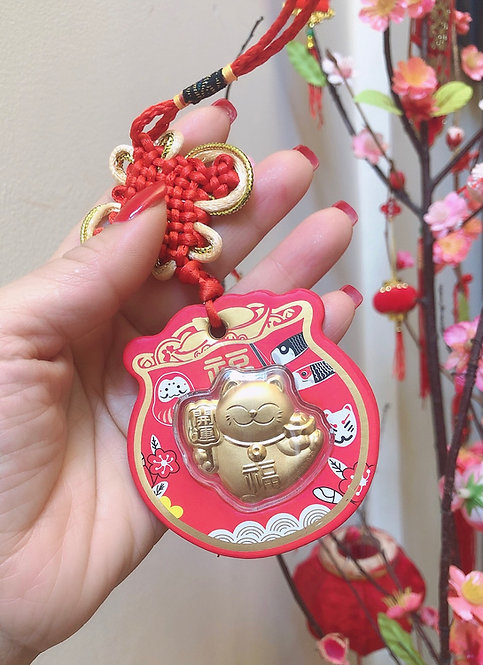 Japanese Lucky Maneki Cat - 24K Gold Foil