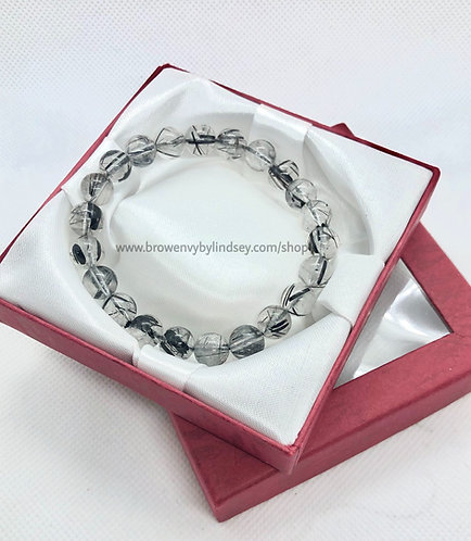 Black Rutilated Natural Stone Bracelet | High Quality Grade 7A (Most Clear) | 8-