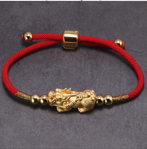 Lucky Pixiu Tibetan Buddist Bracelet 24K Plated