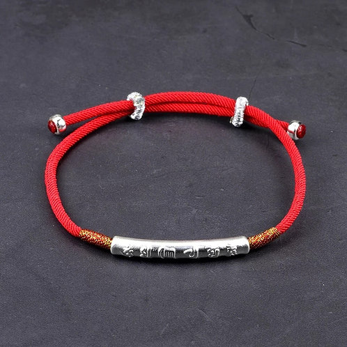 Buddha Mantra Prayers Silver Lucky Red String Charm