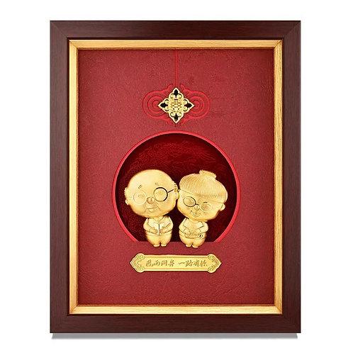 24K Gold Foil - 3D Old Couple Grow Old Together Frame