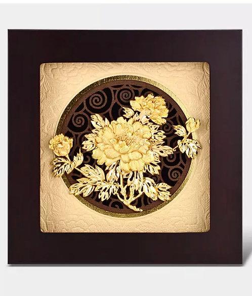 3D Peonies Flower 24K Gold Foil