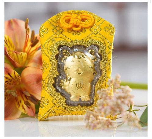 Dragon Omamori/ Amulet- 24K Au999 Gold Foil- w/Chinese Herbal Medicine