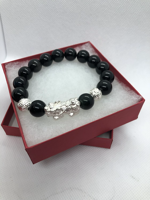 999 Pure 925 Sterling Silver Pixiu with Black Obsidian Stone