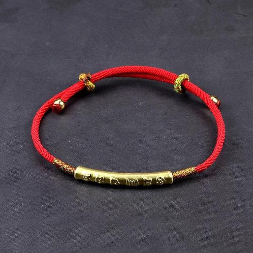 Buddha Mantra Prayers Gold Lucky Red String Charm