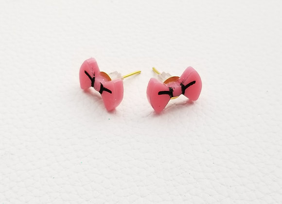 Marie Pink Bow studs