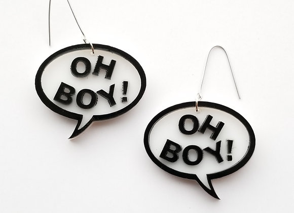 Oh Boy! Callout earrings