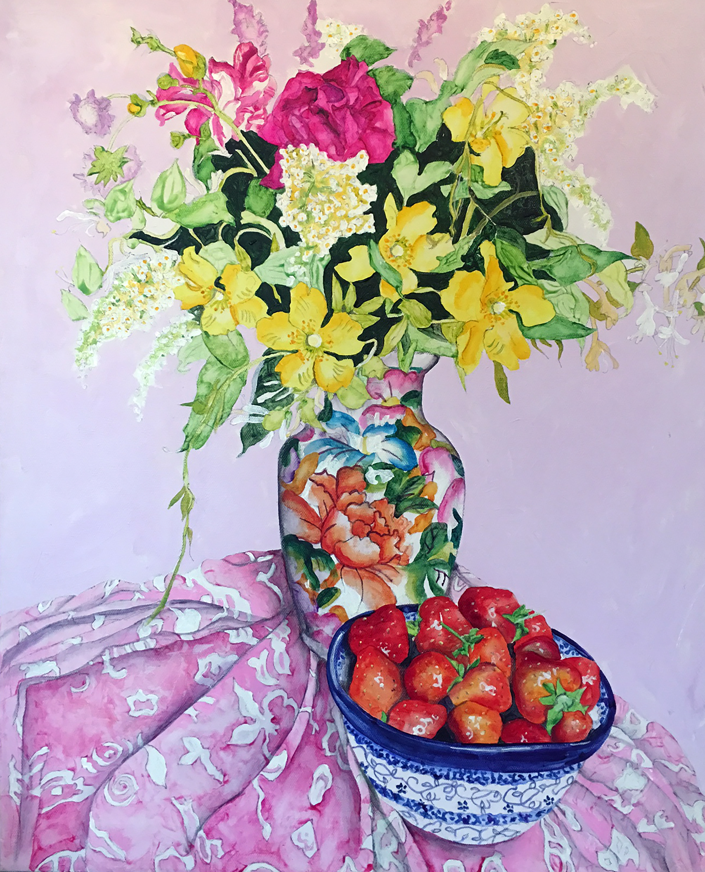 Garden Flowers & Stawberries
