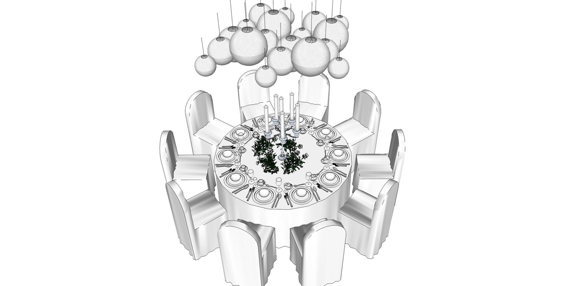 Table design 1.76m diamater 10 people